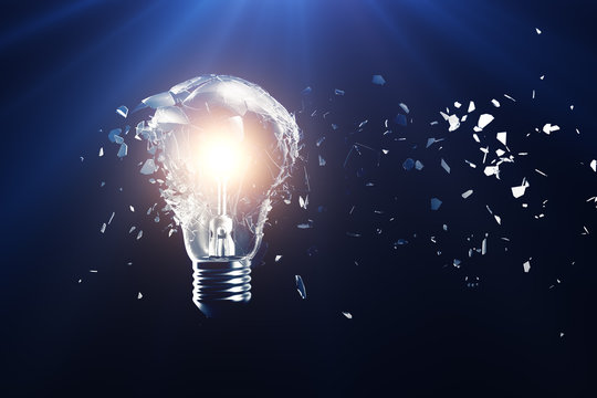 Exploding light bulb on a blue background, with concept creative thinking and innovative solutions. 3D rendering