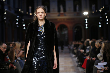 A model presents a creation by French designer Julie de Libran as part of her Fall/Winter 2016/2017 women's ready-to-wear collection show for Sonia Rykiel in Paris