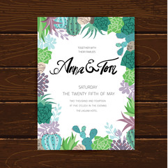 Wedding graphic set with succulents,wreath and glass terrariums