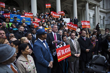Democratic New York City mayoral candidate de Blasio speaks at an immigration reform rally in New York