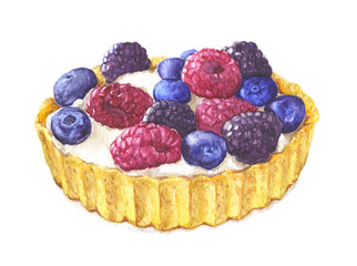Watercolor tartlet with berries and cream