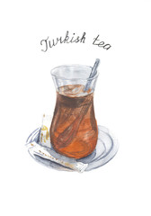 Watercolor cup of turkish tea isolated on white background