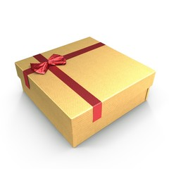 Square yellow giftbox with lid tied with an ornamental ribbon on white. 3D illustration