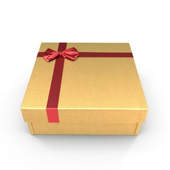 Isolated yellow gift box on white. 3D illustration
