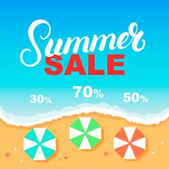 Summer Sale banner design template. Sea, beach, umbrellas.