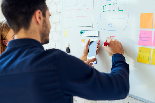 Closeup of ux designers prototyping mobile application layout