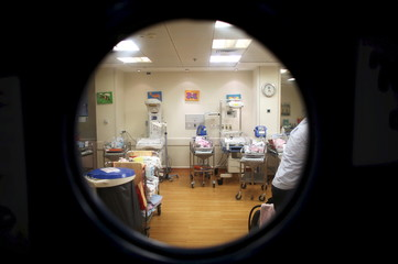 File picture shows cribs for newborn babies seen through an window at a nursery in a hospital in Jerusalem