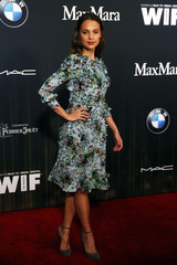 Actress Vikander arrives at the ninth annual Women In Film Pre-Oscar Cocktail Party in Los Angeles, California