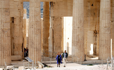 U.S. President Barack Obama tours the Acropolis with Dr. Eleni Banou from the Ministry of Culture in Athens