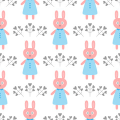 Cute rabbit in a dress. Flowers in the form of hearts. Cartoon seamless pattern.