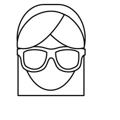 woman with glasses icon over white background. vector illustration