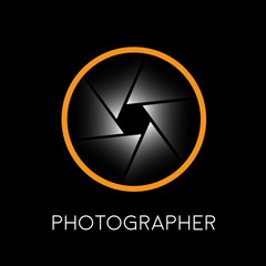 Abstract vector sign photographer, diaphragm on black background