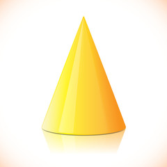 Geometry colorful glossy cone isolated on white