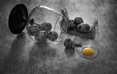 Quail eggs on the table. Broken quail egg. Black and white still life with quail eggs.