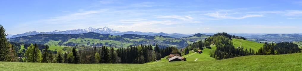 Blick über das Appenzeller Land mit Säntis