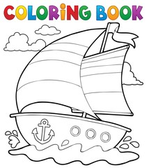 Coloring book nautical boat 1