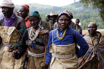 People from the Sengwer community protest over their eviction from their ancestral lands, Embobut Forest, by the government for forest conservation in western Kenya