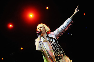 Singer Karen O, of U.S. indie rock band Yeah Yeah Yeahs, performs at the Big Night Out music festival in Singapore