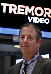 Bill Day, CEO of Tremor Video gives an interview following his company's IPO on the floor of the New York Stock Exchange