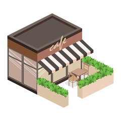 Isometric exterior of coffee shop or sweet-shop.