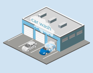 Isometric flat 3D isolated vector cutaway building car wash service.