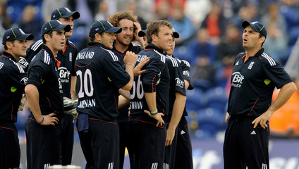 England's Graeme Swann is congratulated after a dismissal during the first Twenty20 international cricket match against Pakistan at the Swalec Stadium in Cardiff