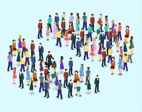 Isometric vector Infographic chart consisting of a crowd of people