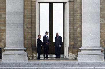 Open VLD president De Croo leaves a meeting with Belgian King Albert II at the Laeken Royal Palace in Brussels