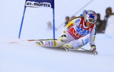 Vonn of the U.S. clears a gate during the Super-G race at the women's Alpine skiing World Cup competition in St. Moritz