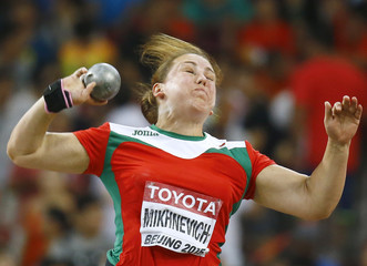 Mikhnevich of Bulgaria competes in the women's shot put final during 15th IAAF World Championships in Beijing