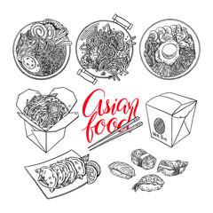 set of sketch Asian food