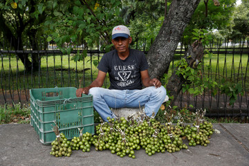 "Holguin poses for a picture next to tropical fruits called ""Mamones"" at his street stall in La Fria"