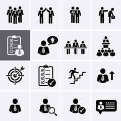 Human Management and Corporate Business Icons