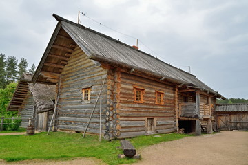 Old Russian log hut in Pushkin Mikhailovskoe