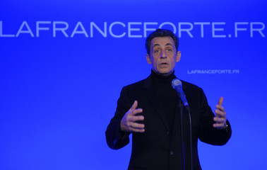 France's President and candidate for the 2012 French presidential elections Nicolas Sarkozy delivers a speech during the inauguration of his campaign headquarter in Paris