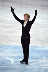 Gachinski of Russia reacts after his men's free skating programme at the European Figure Skating Championships at the Motorpoint Arena in Sheffield