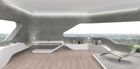 Interior Design eines futuristischen Wohnzimmers mit Sichtbeton