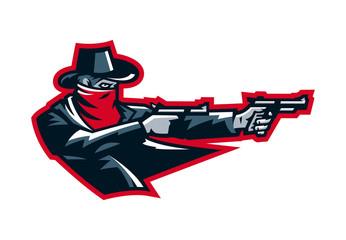 Logo cowboy shooting from a revolver. Wild west, bandits, sheriff, crime. Mascot, sticker, emblem. Sports identity, vector illustration.
