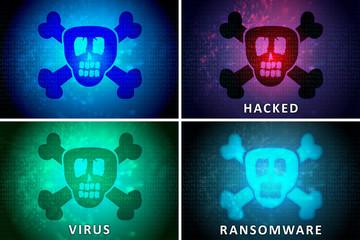 Skull, Hacked, Ransomware, Virus