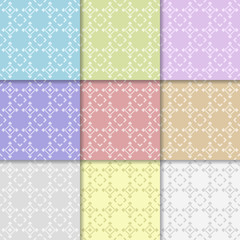 Abstract geometric background. Collection of colored seamless pattern