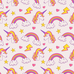 Vector seamless pattern with unicorns and rainbows.