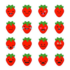 Emotions Strawberries. Vector style smile icons.