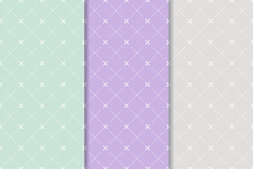 Geometric seamless background. Blue, purple and gray walllpaper collection