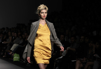 A model presents a creation by Spanish designer Toni Francesc at the Mercedes-Benz Fashion show in Mexico City