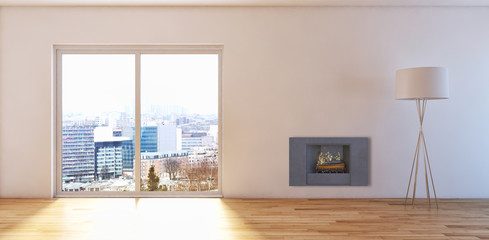 Living room with fireplace. 3D rendering