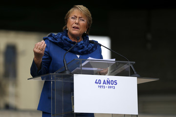 Former Chilean President and current presidential candidate Bachelet delivers a speech during a ceremony to commemorate 40 years of the military coup at the Museum of the memory in Santiago