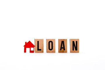 Home Loan - block letters with red home / house icon with white background
