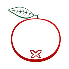 Contour of ripe red cranberry with green stem and green leaf on white background. Ripe autumn natural home made fruits