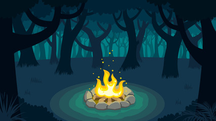 Forest Campfire / Cartoon illustration of forest campfire.