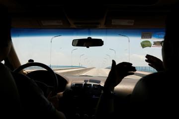 Professor Zhiyong Xi speaks in a car travelling on a bridge that leads to Shazai Island in Guangzhou, China